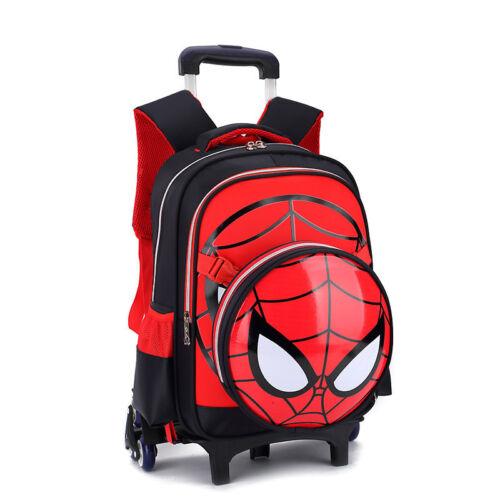 Spiderman Kids Boy Rolling Schoolbag Trolley Luggage Wheels Backpack Rucksack Ne