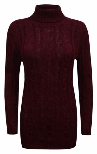 Womens Ladies Cable Knitted Polo Turtle Neck Top Jumper Sweater Sweatshirt »