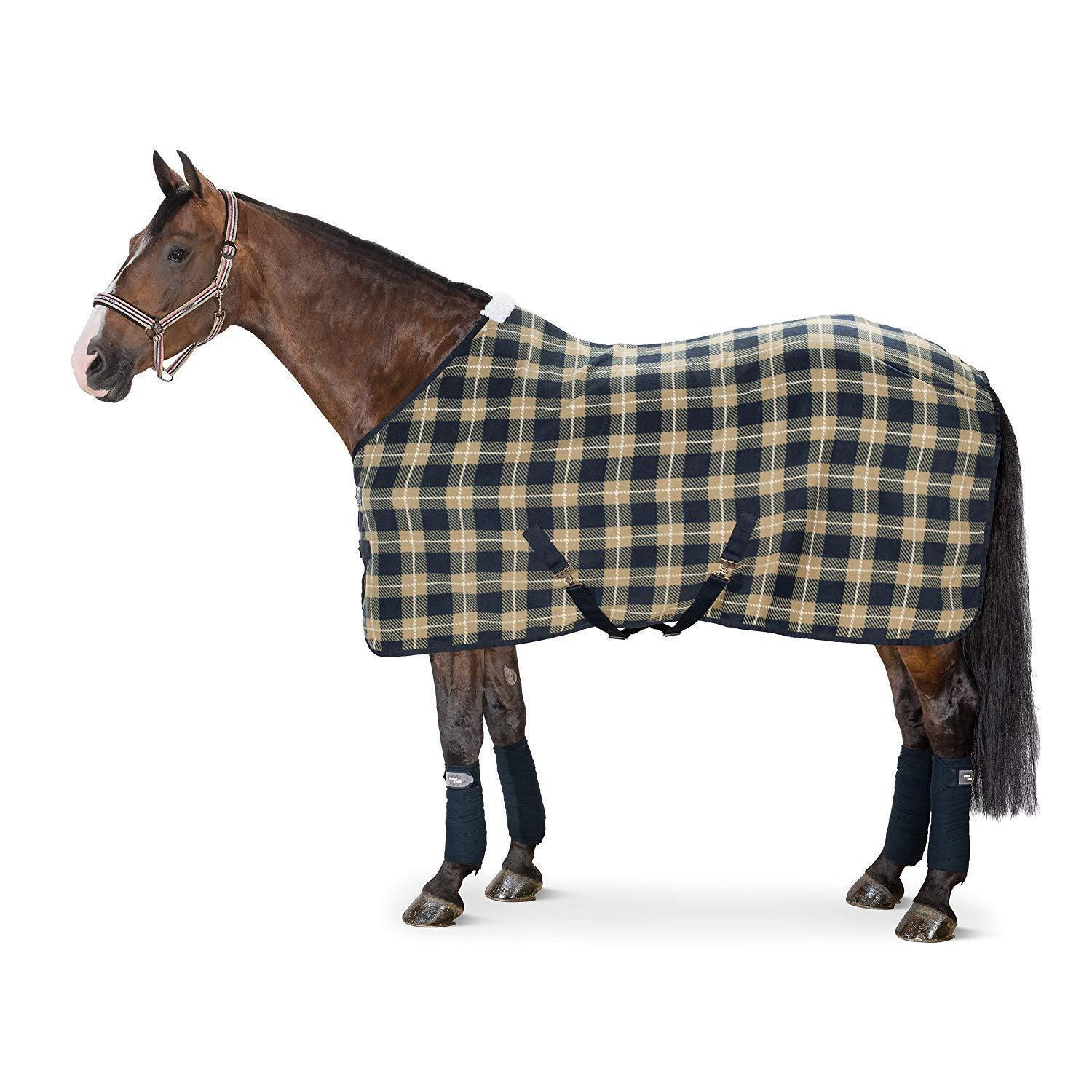 Eskadron Checked Fleece Rug cross surcingles cooler stable travel show M + L