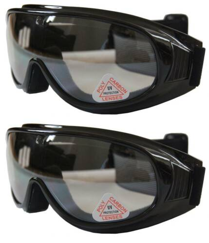 2 prs Andevan™ Clear Ski/Motors/Sky Diving Goggle cover/wear/put over Rx glasses