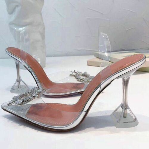 Peep Toe Women Pumps Summer Transparent PVC Party Crystal Shoes High Heels Clear