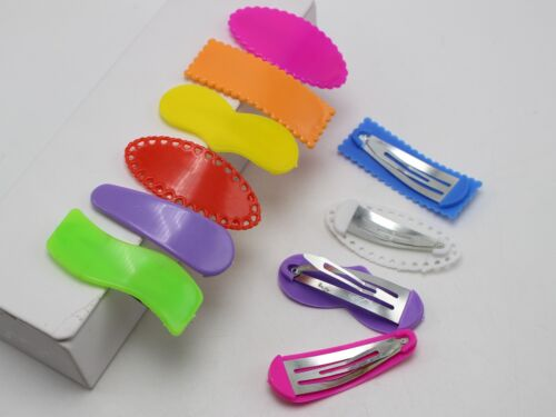 25 Mixed Color Assorted Shape Plastic Coated Bow Snap Hair Clips DIY Craft