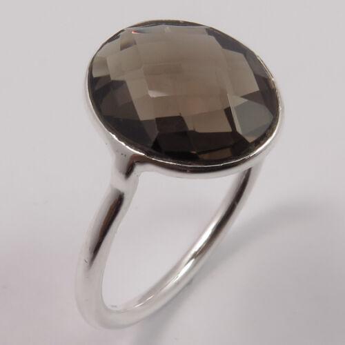 Tiny Ring Choose Size SMOKY QUARTZ Checker Gemstone 925 Solid Sterling Silver