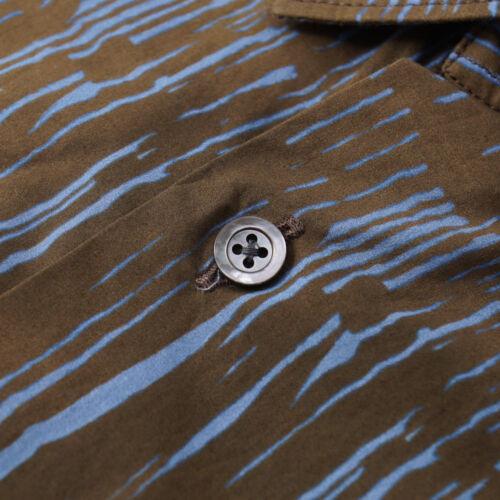 Camisa Boglioli de 40 con 700 algodón M UE azul y ligera estampado Slim Nwt marrón xEUAwt5