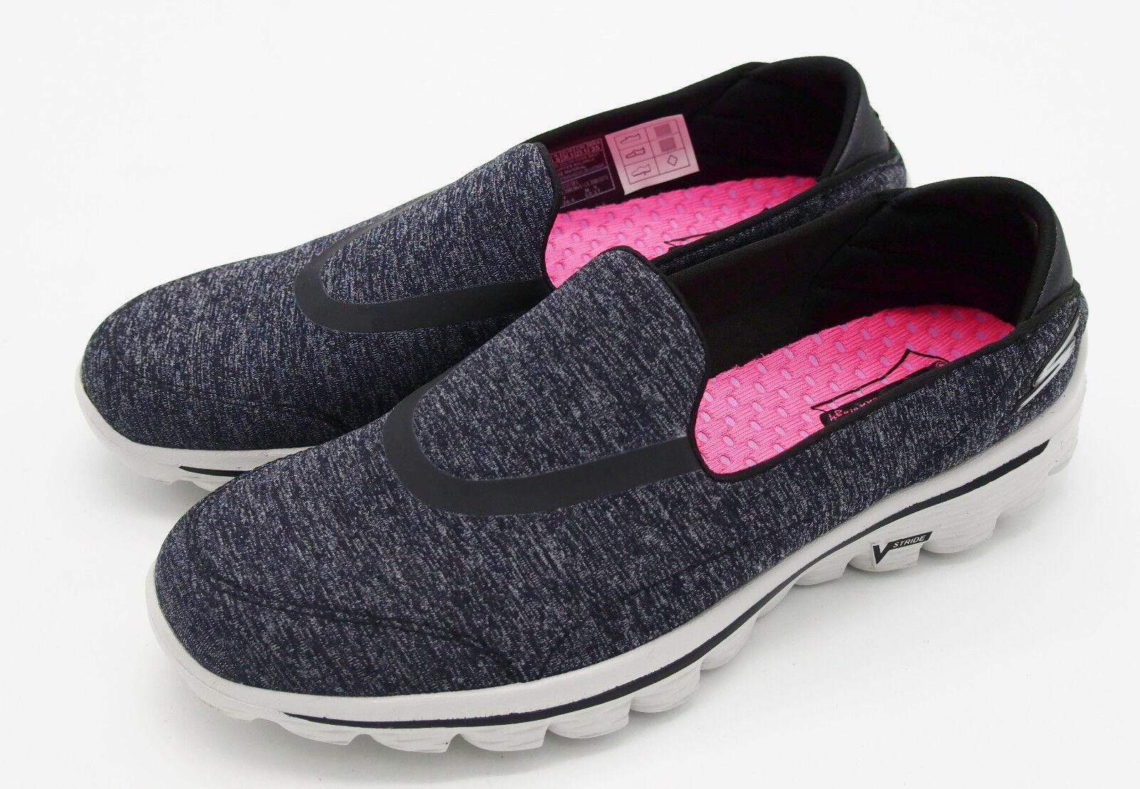 J5595 New Women's Skechers Go Walk Heather Charcoal Slip On shoes 8 M