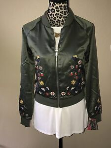 Nwt Xhilaration Women Olive Green Floral Embroidery Bomber Jacket
