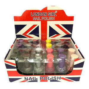 Job Lot 24 Pack 20ml XL Bottles London Girl Glitter Nail Polish varnish Mixed