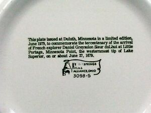 VNTG DULUTH MINNESOTA 300 YRS 1979 LMTD ED DISPLAY PLATE KETTLESPRINGS KILN OHIO