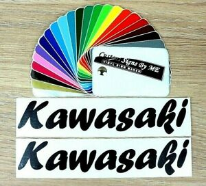 2x-KAWASAKI-Bike-Tank-Side-Stickers-Vinyl-Decals-Adhesive-Fairing-Black