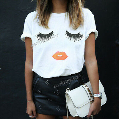 Fashion Women Eyelash Lips Printed Loose Short Sleeve Casual T-Shirt Tops Blouse
