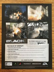 Black-PS2-Playstation-2-Xbox-2006-Vintage-Video-Game-Poster-Ad-Art-Rare-EA-FPS