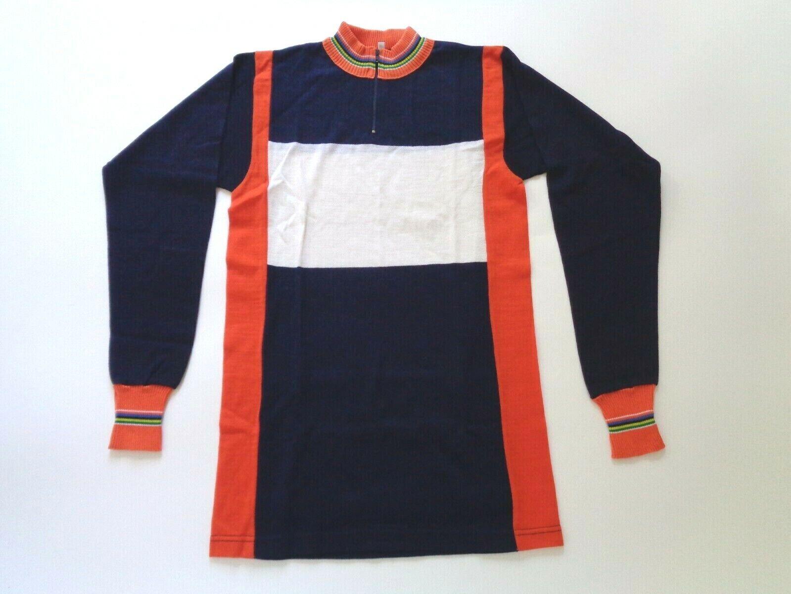 noas retro. Camiseta del ciclo de lana italiana de 1970 (azul   naranja   blancoo) Código s