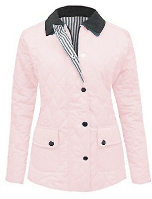 Size 16 18 New Ladies Quilted Coral Red Padded Zip Popper Jacket Women/'s Coat