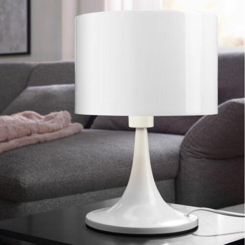 Tischleuchte weiß Nachttischlampe hochglanz Metalllampe Ø 25cm Leselampe E27