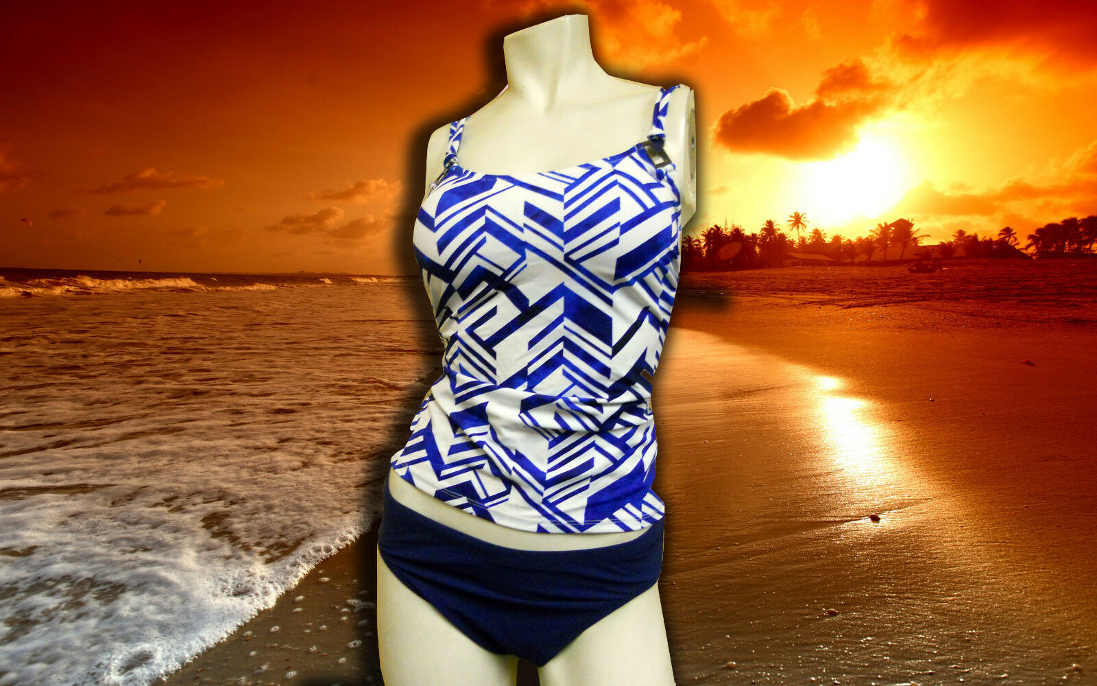 NWT PROFILE by GOTTEX Graphic Nature blueE BATHING SUIT SWIMSUIT TANKINI SET- 10