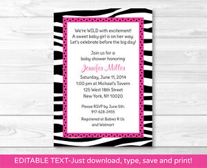 Pink sassy zebra print printable baby shower invitation editable pdf image is loading pink sassy zebra print printable baby shower invitation filmwisefo