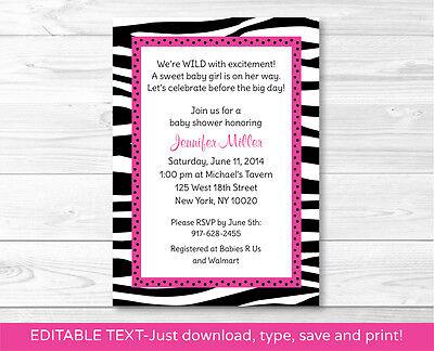 Pink Sassy Zebra Print Printable Baby Shower Invitation Editable PDF
