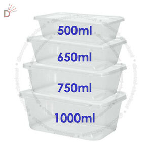 All-Sizes-Plastic-Containers-Tubs-Clear-With-Lids-Microwave-Food-Safe-Takeaway