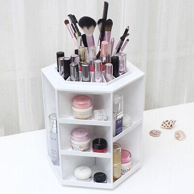 white Rotating Make up Organizer Cosmetic Display Brush Lipstick Storage Stand