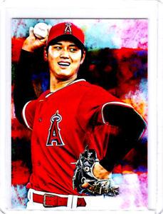 2021 Shohei Ohtani Angels Baseball 1/1 ACEO Fine Art Print Card By:Q