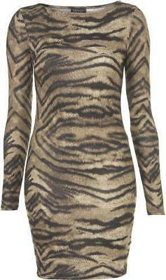 69f2b01265 Boohoo Animal TIGER Print Women s Dress Body con fitted UK 12