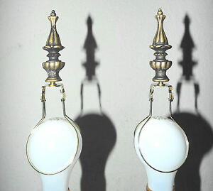 "LAMPSHADES PAIR 3""H FANCY SILVER RESIN FINIALS w/BULB CLIP ATTACHMENT AWESOME!"
