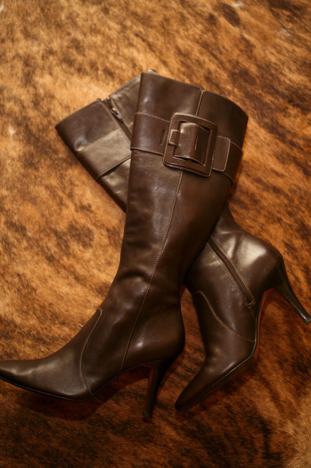 Circa Joan & David Marrón Cuero De Salón Zapatos de de de Taco Alto botas Hasta La Rodilla 10 M Extra Usado En Excelente Condición  bienvenido a orden