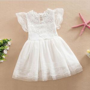 Kids Baby Girl Princess Tutu Dress Lace Party Pageant Bridesmaid