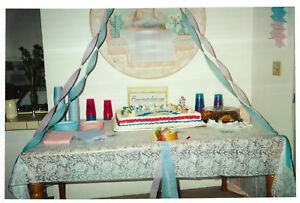 Vintage 80s Photo Baby Shower Cake On Table W Decorations Ebay
