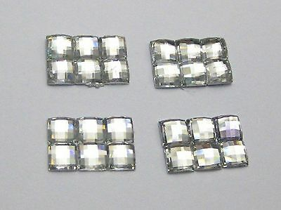 200 Clear Mosaics Square Flatback Rectangle Rhinestone Gems 12X8mm No Hole