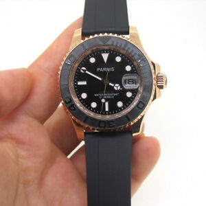 Parnis-Sapphire-Miyota-Automatic-Movement-5-ATM-Men-039-s-Watch-41mm-Rose-Gold-Case