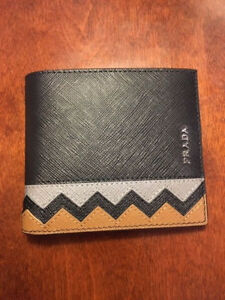 a17d4055 Details about New AUTH Prada Zigzag Saffiano Bi Fold Men's Leather Wallet  Yellow - no ID card