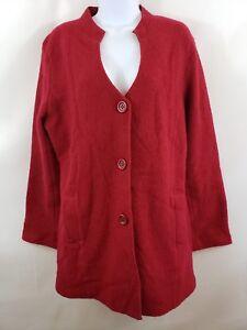 Harve-Benard-Women-039-s-Red-Wool-Tunic-Sweater-Size-L-Red-Cardigan-Jacket-Christmas