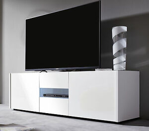 tv fernseh tisch lowboard wei hochglanz echt lack. Black Bedroom Furniture Sets. Home Design Ideas