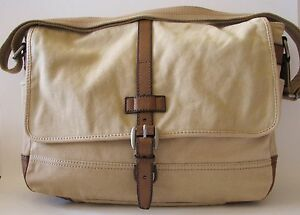 Image Is Loading New Fossil Emerson Ew Messenger Dark Khaki Canvas