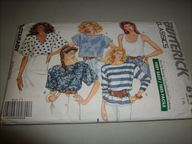 "Butterick ""Classics"" Pull Over Top  6113  L-XL Rated Very Easy"