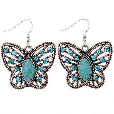 Blue Crystal Water drop Turquoise Hollow out Butterfly Dangle pendant Earrings