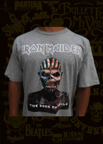 NEW! IRON MAIDEN THE BOOK OF THE SOULS LIGHT GREY T SHIRT MEN/'S SIZES