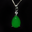 China-handcarved-green-jade-Water-drop-shape-Pendant-necklace thumbnail 3