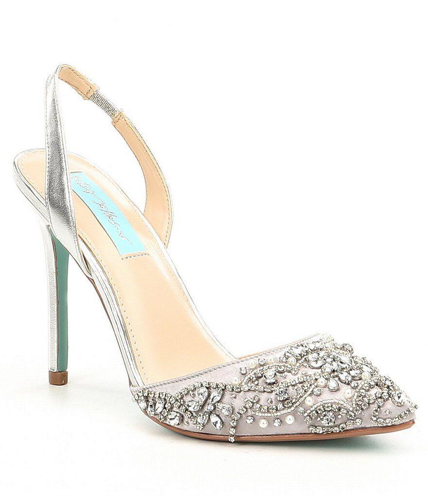 NIB bleu by Betsey Johnson Sonia Satin Rhinestone Slingback chaussures in argent