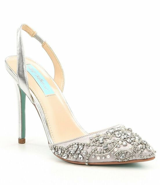 NIB Blue by Betsey Johnson Sonia Satin Rhinestone Slingback Shoes in Silver