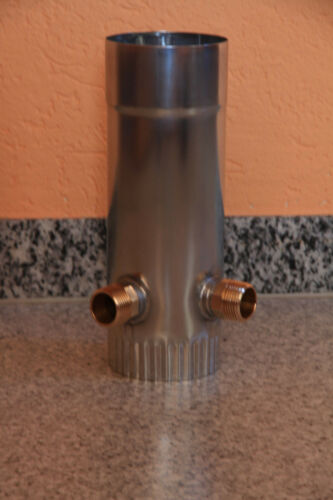 Regenwassersammler Titanzink Profiqualität mit Doppelanschluss 1 Zoll
