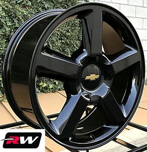 chevy avalanche wheels 20 inch 2007 2013 ltz gloss black 20x8 5 rims ebay. Black Bedroom Furniture Sets. Home Design Ideas