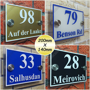 Details about HOUSE NUMBER PLATE STREET NAME DOOR SIGN PLAQUE GLASS ACRYLIC  (200mm X 140mm) I