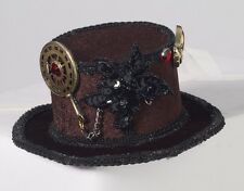 Mini Steampunk Brown Top Hat with Hair Clips  Victorian Burlesque