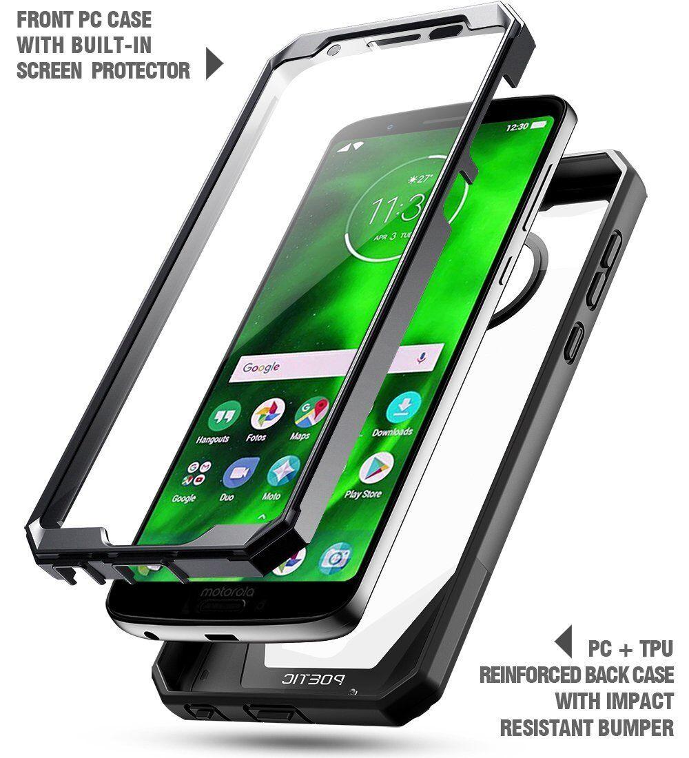 For Motorola Moto G6 Scratch Resistant Back Case,Shockproof Hard Shell  Cover BLK