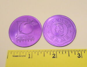 Details about TWO - Vintage New Georgia Lottery Promo Scratch Off Coins -  Purple color