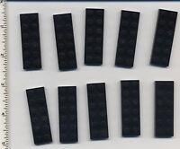 Lego X 10 Black Plate 2 X 6 3795