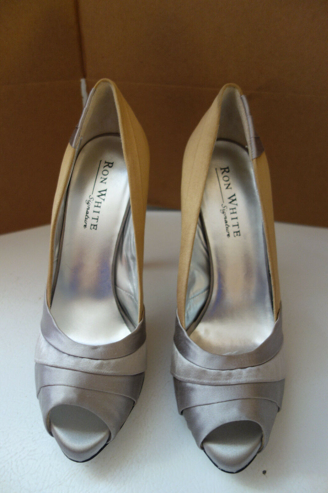 Ron White Signature All Day Hells Gold/Pewter Satin 'Jasmyn' Pumps. Size 9 Nwot