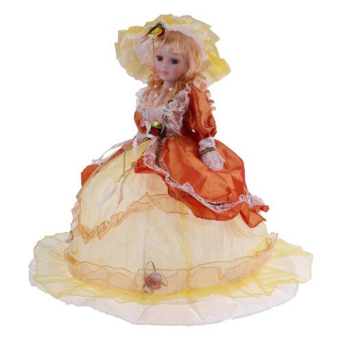 Elegant Victorian Porcelain Doll Splicing Doll 18inch Yellow Dress